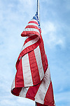 American flag in Sullivan, Maine, USA