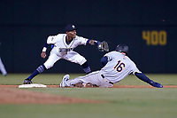 Curtis Mead (16) of the Charleston RiverDogs is forced out at second as Maikel Garcia (8) of the Columbia Fireflies takes the throw on Tuesday, May 11, 2021, at Segra Park in Columbia, South Carolina. (Tom Priddy/Four Seam Images)