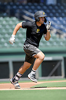 """Catcher Kyle Wilkie was one of several former Clemson baseball players now in the pros who worked out this month at Fluor Field while individual team workouts were suspended during the coronavirus pandemic. He played in a """"Sandlot""""-style game on Thursday June 25, 2020. Wilkie was a 12th-round pick by Pittsburgh in 2019 and spent last season with the West Virginia Black Bears. (Tom Priddy/Four Seam Images)"""