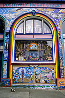 San Francisco, California.  Haight-Ashbury District.  Window Display and Mural, Positively Haight Street.
