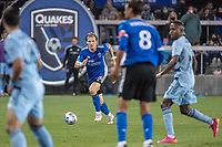SAN JOSE, CA - MAY 22: Florian Jungwirth #23 of the San Jose Earthquakes dribbles the ball during a game between San Jose Earthquakes and Sporting Kansas City at PayPal Park on May 22, 2021 in San Jose, California.