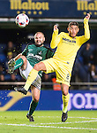Jonathan Dos Santos (r) of Villarreal CF battles for the ball with Francisco Javier Barranco Lucas of CD Toledo during their Copa del Rey 2016-17 match between Villarreal CF and CD Toledo at the Estadio El Madrigal on 20 December 2016 in Villarreal, Spain. Photo by Maria Jose Segovia Carmona / Power Sport Images
