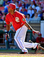 23 September 2007: Washington Nationals outfielder Wily Mo Pena in action against the Philadelphia Phillies at Robert F. Kennedy Memorial Stadium in Washington, DC. The Nationals defeated the Phillies 5-3 in the historic last professional baseball game played at RFK Stadium.. .Mandatory Photo Credit: Ed Wolfstein Photo