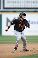 Jordan Cowan (11) of the Modesto Nuts runs the bases during a game against the Rancho Cucamonga Quakes at LoanMart Field on August 1, 2017 in Rancho Cucamonga, California. Rancho Cucamonga defeated Modesto, 2-1. (Larry Goren/Four Seam Images)