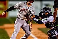 29 August 2019: Connecticut Tigers infielder Jordan Verdon is tagged out at the plate by Vermont Lake Monsters catcher Jorge Gordon in the 7th inning at Centennial Field in Burlington, Vermont. The Tigers defeated the Lake Monsters 6-2 in the first game of their NY Penn League double-header.  Mandatory Credit: Ed Wolfstein Photo *** RAW (NEF) Image File Available ***