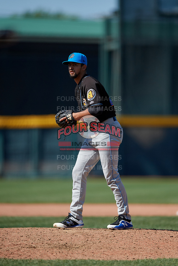 Akron RubberDucks pitcher Nick Sandlin (41) during an Eastern League game against the Erie SeaWolves on June 2, 2019 at UPMC Park in Erie, Pennsylvania.  Erie defeated Akron 8-5 in eleven innings of the second game of a doubleheader.  (Mike Janes/Four Seam Images)