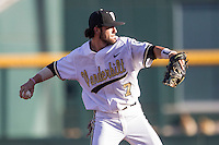 Vanderbilt Commodores shortstop Dansby Swanson (7) makes a throw to first base against the TCU Horned Frogs in Game 12 of the NCAA College World Series on June 19, 2015 at TD Ameritrade Park in Omaha, Nebraska. The Commodores defeated TCU 7-1. (Andrew Woolley/Four Seam Images)