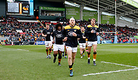 Photo: Richard Lane/Richard Lane Photography. Tigers v Wasps. Gallagher Premiership. 02/03/2019. Wasps' Joe Simpson leads the team off before his 250th club game.