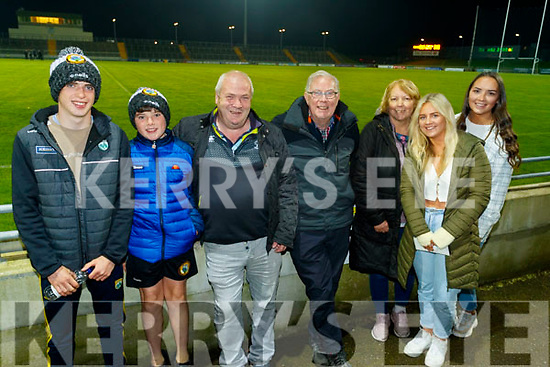 Jim, Tom and Dermot Clifford, Jim Moriarty, Ellen Clifford, Shauna O'Connor and Shelly Clifford at the Kerry County Senior Football Championship Final match between East Kerry and Mid Kerry at Austin Stack Park in Tralee on Saturday night.