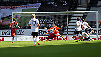 12th September 2020; Pride Park, Derby, East Midlands; English Championship Football, Derby County versus Reading; Lucas Santos Joao of Reading slips as he takes a shot at the Derby County Goalkeeper David Marshall