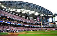Apr. 6, 2012; Phoenix, AZ, USA; San Francisco Giants pitcher Tim Lincecum throws in the third inning to Arizona Diamondbacks batter Justin Upton during opening day at Chase Field.  Mandatory Credit: Mark J. Rebilas-