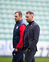 15th November 2020; Easter Road, Edinburgh, Scotland; Scottish League Cup Football, Hibernian versus Dundee FC; Dundee assistant manager Dave Mackay and manager James McPake inspect the pitch before the match