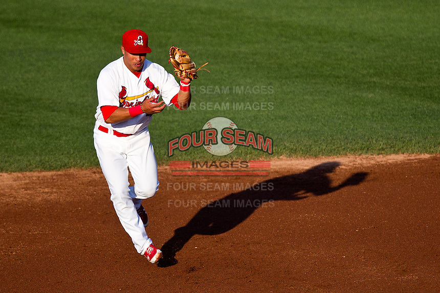 Kolten Wong (4) of the Springfield Cardinals fields a bouncing ground ball during a game against the Arkansas Travelers at Hammons Field on May 5, 2012 in Springfield, Missouri. (David Welker/Four Seam Images)
