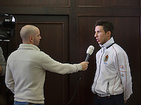 30-01-2014,Czech Republic, Ostrava, Cez Arena, Davis Cup, Czech Republic vs Netherlands, draw, city hall, Igor Sijsling (NED) is interviewed by NOS television<br /> Photo: Henk Koster