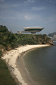 Niteroi, Rio de Janeiro, Brazil. Museum of Contemporary Art, designed by Oscar Niemeyer and Bruno Contarini