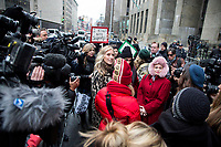 NEW YORK, NEW YORK - JANUARY 6: Actress Rose McGowan, who accused Weinstein of raping her and after destroying her career, joins other accusers and protesters when Harvey Weinstein arrives at the Manhattan courthouse. On January 6, 2020 in New York City. Weinstein pleaded not guilty to five counts of rape and faces a possible life sentence in prison.(Photo by Pablo Monsalve / VIEWpress)