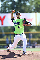 Ryan Shaffer (45) of the Hillsboro Hops pitches against the Spokane Indians at Ron Tonkin Field on July 23, 2017 in Hillsboro, Oregon. Spokane defeated Hillsboro, 5-3. (Larry Goren/Four Seam Images)