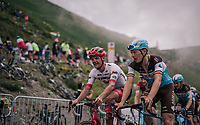 first grupetto (including belgians Jasper Stuyven & Oliver Naesen) up the brutal Col du Portet (HC/2250m/16km at 8.7%/Souvenir Henri Desgrange) in this historically short stage (only 65km)<br /> <br /> Stage 17: Bagnères-de-Luchon > Saint-Lary-Soulan (65km)<br /> <br /> 105th Tour de France 2018<br /> ©kramon