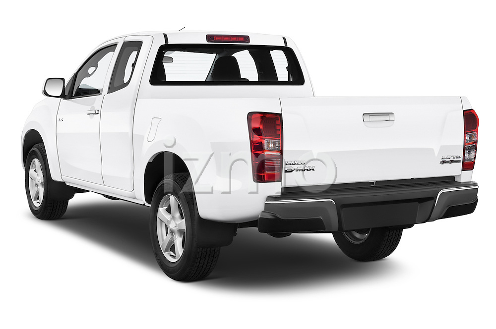 Car pictures of rear three quarter view of a 2015 Isuzu D-Max L+ 4 Door Pickup 2WD Angular Rear