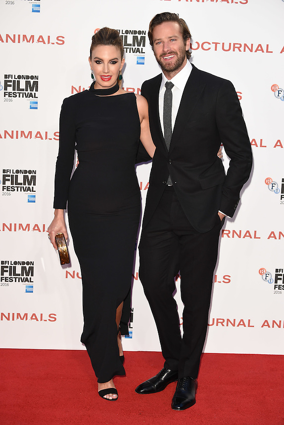 """Armie Hammer and wife, Elizabeth Chambers<br /> at the London Film Festival 2016 premiere of """"Nocturnal Animals"""" at the Odeon Leicester Square, London.<br /> <br /> <br /> ©Ash Knotek  D3179  14/10/2016"""