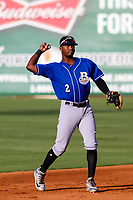 Biloxi Shuckers shortstop Luis Aviles, Jr. (2) throws the ball around the infield between innings during a Southern League game against the Jackson Generals on July 27, 2018 at The Ballpark at Jackson in Jackson, Tennessee. Biloxi defeated Jackson 15-7. (Brad Krause/Four Seam Images)