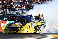 Sep 27, 2013; Madison, IL, USA; NHRA funny car driver Jeff Arend during qualifying for the Midwest Nationals at Gateway Motorsports Park. Mandatory Credit: Mark J. Rebilas-
