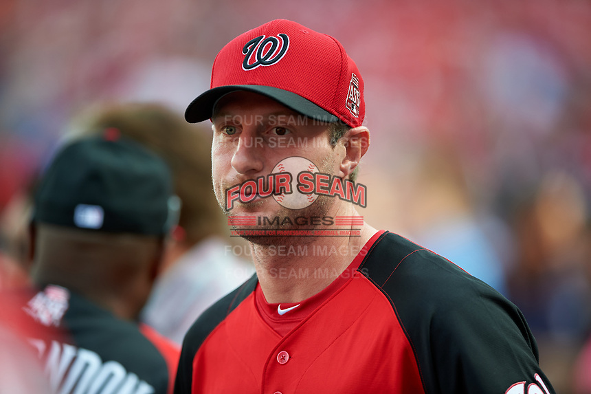 Washington Nationals pitcher Max Scherzer during MLB All-Star Game Practice on July 13, 2015 at Great American Ball Park in Cincinnati, Ohio.  (Mike Janes/Four Seam Images)