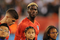 EAST RUTHERFORD, NJ - SEPTEMBER 7: Gyasi Zardes #9 of the United States during the presentation of the team during a game between Mexico and USMNT at MetLife Stadium on September 6, 2019 in East Rutherford, New Jersey.