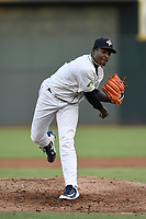 Tony Dibrell (8) of the Columbia Fireflies delivers a pitch during a game against the Charleston RiverDogs in which he set a Fireflies single-season strikeout record of 138 on Tuesday, August 28, 2018, at Spirit Communications Park in Columbia, South Carolina. Columbia won, 11-2. (Tom Priddy/Four Seam Images)