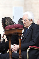 Italian President Sergio Mattarella attends a canonization mass in St. Peter's Square at the Vatican, on October 14, 2018.<br /> UPDATE IMAGES PRESS/Isabella Bonotto<br /> <br /> STRICTLY ONLY FOR EDITORIAL USE