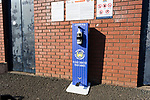 A hand sanitiser outside Rugby Park. Kilmarnock 2 Ayr United 0, Scottish Championship, August 2nd 2021. Following Kilmarnock's relegation in 2020-21, the first game of the new season is the Ayreshire Derby, the first league match between the teams in 28 years. Due to relaxation of Covid restrictions the match was played in front of a crowd of 3200 Kilmarnock fans. The game was shown live on BBC Scotland.