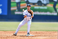 Asheville Tourists second baseman Terrin Vavra (6) moves to field the ball on the front end of a double play during a game against the West Virginia Power at McCormick Field on June 2, 2019 in Asheville, North Carolina. The  Power defeated the Tourists 5-4. (Tony Farlow/Four Seam Images)