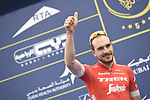 John Degenkolb (GER) Trek-Segafredo at sign on before the start of Stage 4 The Municipality Stage of the Dubai Tour 2018 the Dubai Tour's 5th edition, running 172km from Skydive Dubai to Hatta Dam, Dubai, United Arab Emirates. 9th February 2018.<br /> Picture: LaPresse/Fabio Ferrari | Cyclefile<br /> <br /> <br /> All photos usage must carry mandatory copyright credit (© Cyclefile | LaPresse/Fabio Ferrari)