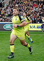Photo: Richard Lane/Richard Lane Photography. Wasps v Leicester Tigers. Aviva Premiership. Semi Final. 20/05/2017. Tigers' Tom Youngs leads the team out.