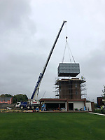 BNPS.co.uk (01202 558833)<br /> Pic: OnTheMarket/BNPS.<br /> <br /> The water tower cistern is returned...<br /> <br /> A historic World War Two POW water tower has emerged on the market for £1.2million after being converted into a modern family home.<br /> <br /> The original red brick structure was once part of 78 Working Camp, which housed 700 Italian and German prisoners in the Essex countryside near Braintree.<br /> <br /> It doubled as a secret communications hub, sending early warning signals of enemy aircraft to Wethersfield, an American airbase five miles away.   <br /> <br /> The derelict tower, dating from 1938, and one acre plot in High Garrett, near Braintree, were bought by Jon Oakley and his wife Vicky for £285,000 in 2017. It had been unused since 1950.<br /> <br /> They have spent several hundred thousand pounds converting it into a five storey home with four en-suite bathrooms and a ground floor extension. A top level has been added to the 50ft structure to replace the water tank which was removed following the war.