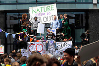 Climate Camp demonstrators take over Bishopsgate as thousands of protestors descended on the City of London ahead of the G20 summit of world leaders to express anger at the economic crisis, which many blame on the excesses of capitalism.
