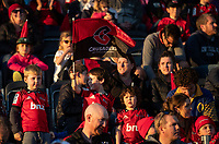 Fans in the grandstand the 2020 Super Rugby match between the Crusaders and Highlanders at Orangetheory Stadium in Christchurch, New Zealand on Saturday, 9 August 2020. Photo: Joe Johnson / lintottphoto.co.nz