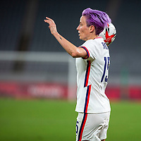 TOKYO, JAPAN - JULY 21: Megan Rapinoe #15 of the United States prepares to take throw in during a game between Sweden and USWNT at Tokyo Stadium on July 21, 2021 in Tokyo, Japan.
