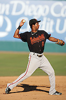 Andres James of the Bakersfield Blaze during game against the Lake Elsinore Storm at The Diamond in Lake Elsinore,California on July 25, 2010. Photo by Larry Goren/Four Seam Images