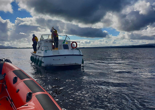 Lough Derg RNLI crew assisting one of the two cruisers that had run aground on the lake on Sunday afternoon 19 September