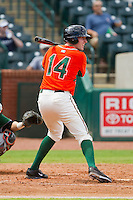 Colin Moran (14) of the Greensboro Grasshoppers at bat against the Augusta GreenJackets at NewBridge Bank Park on August 11, 2013 in Greensboro, North Carolina.  The GreenJackets defeated the Grasshoppers 6-5 in game one of a double-header.  (Brian Westerholt/Four Seam Images)