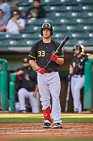 Scott Schebler (33) of the Salt Lake Bees at bat against the Tacoma Rainiers at Smith's Ballpark on May 13, 2021 in Salt Lake City, Utah. The Rainiers defeated the Bees 15-5. (Stephen Smith/Four Seam Images)