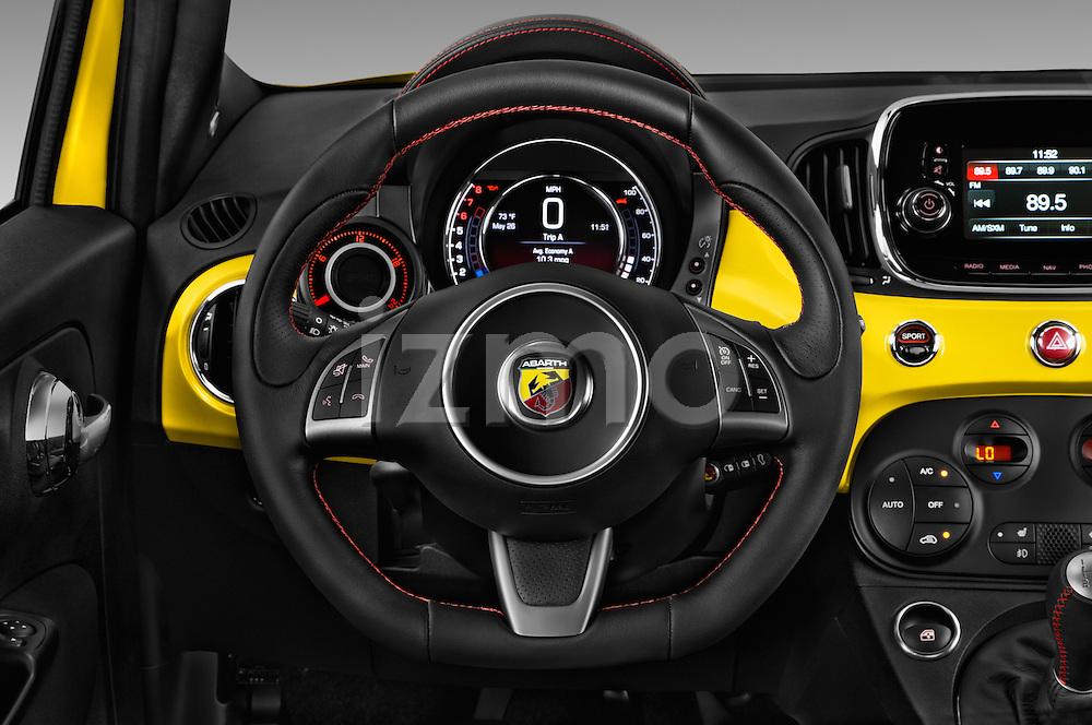 Car pictures of steering wheel view of a 2017 Fiat 500 Abarth 3 Door Hatchback Steering Wheel