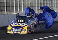 Feb. 15, 2013; Pomona, CA, USA; NHRA funny car driver Ron Capps during qualifying for the Winternationals at Auto Club Raceway at Pomona. Mandatory Credit: Mark J. Rebilas-