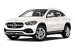 Stock pictures of low aggressive front three quarter view of 2021 Mercedes Benz GLA GLA250 5 Door SUV Low Aggressive