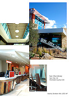 Sun City Library, Sun City, CA. Riverside County EDA. Exterior and interior views. Audrey Stratton, Architect.