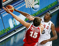 Kevin DURANT (USA)  blocks Timofey MOZGOV (Russia)  during the quarter-final World championship basketball match against Russia in Istanbul, USA-Russia, Turkey on Thursday, Sep. 09, 2010..