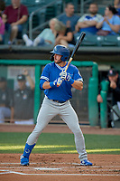 Zach Reks (4) of the Oklahoma City Dodgers at bat against the Salt Lake Bees at Smith's Ballpark on August 1, 2019 in Salt Lake City, Utah. The Bees defeated the Dodgers 14-4. (Stephen Smith/Four Seam Images)