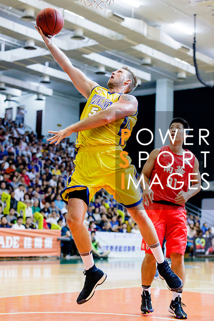 Hosford Ian Daniel #5 of Winling Basketball Club goes to the basket against the SCAA during the Hong Kong Basketball League game between SCAA vs Winling at Southorn Stadium on June 19, 2018 in Hong Kong. Photo by Yu Chun Christopher Wong / Power Sport Images