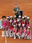 Andy Murray, Great Britain celebrates the victory in the Madrid Open Tennis 2015 with the models balls-girls. May, 10, 2015.(ALTERPHOTOS/Acero)